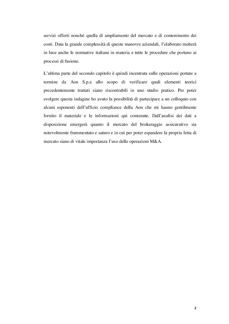 Anteprima della tesi: Fusioni e Acquisizioni come strategia di crescita per le imprese: il caso Aon S.p.A., Pagina 3