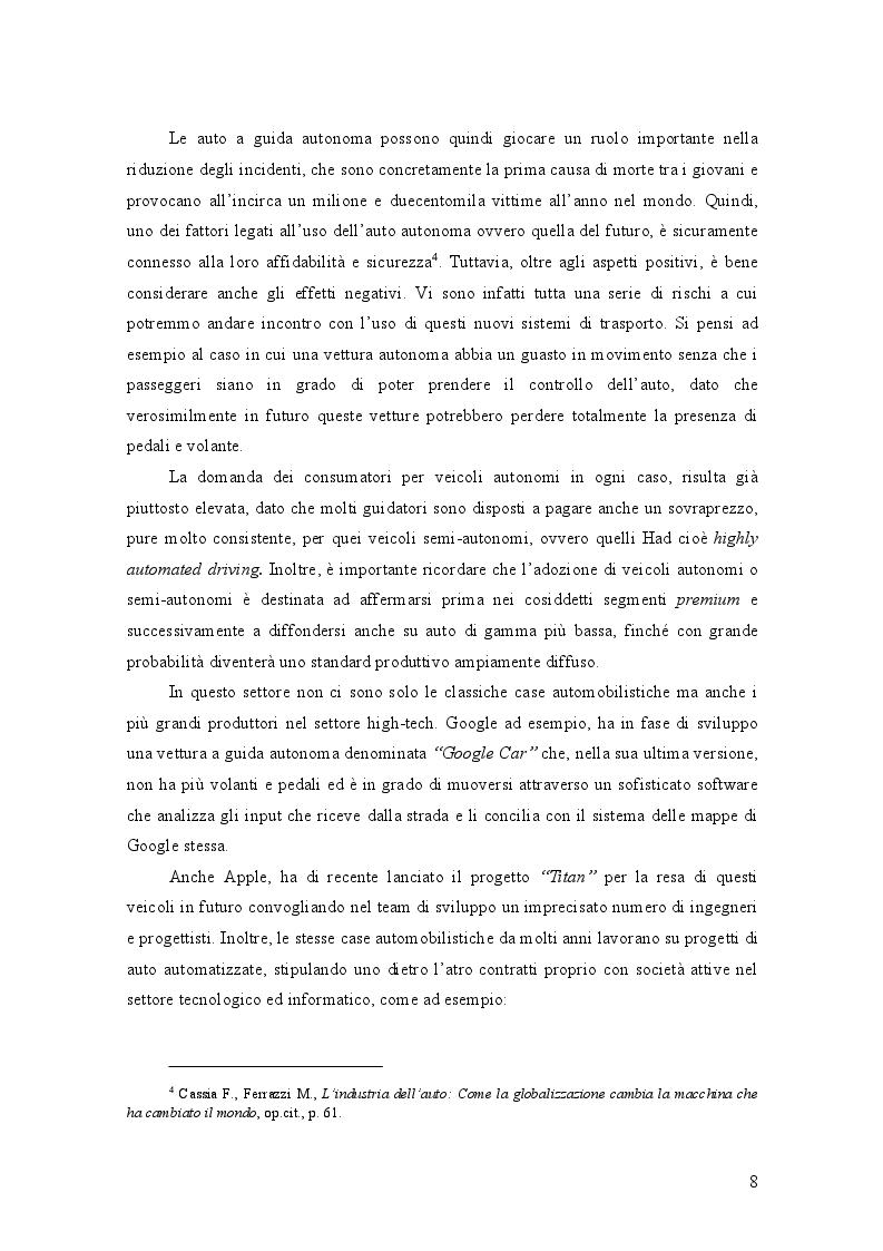 Anteprima della tesi: AUTO A GUIDA AUTONOMA: implicazioni economiche ed effetti sociali, Pagina 4