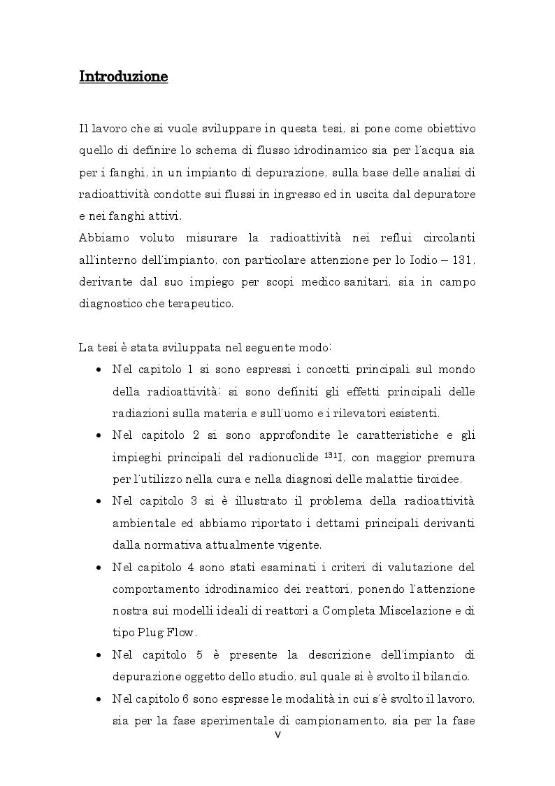 Anteprima della tesi: Misure di radioattività nelle acque di scarico finalizzate alla definizione del bilancio di massa e del comportamento idrodinamico di un impianto di depurazione, Pagina 2
