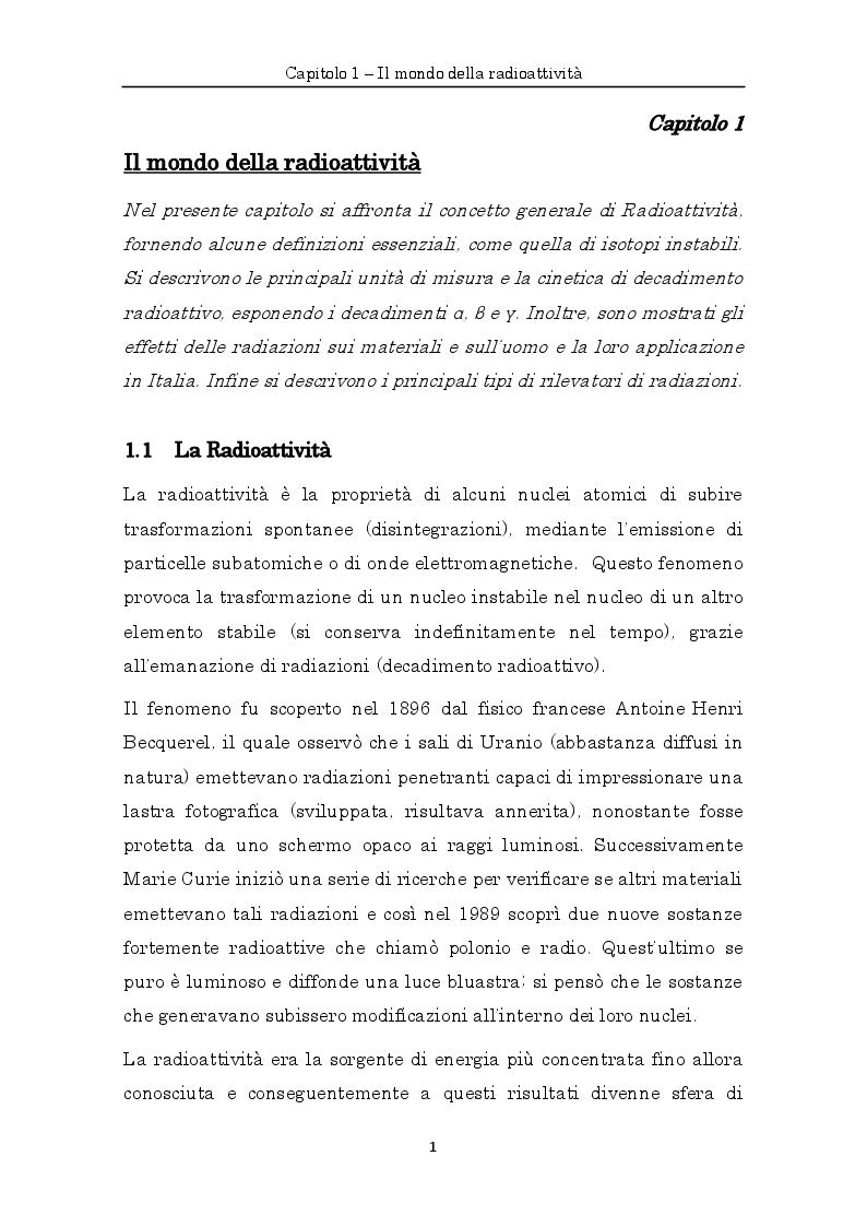 Anteprima della tesi: Misure di radioattività nelle acque di scarico finalizzate alla definizione del bilancio di massa e del comportamento idrodinamico di un impianto di depurazione, Pagina 4