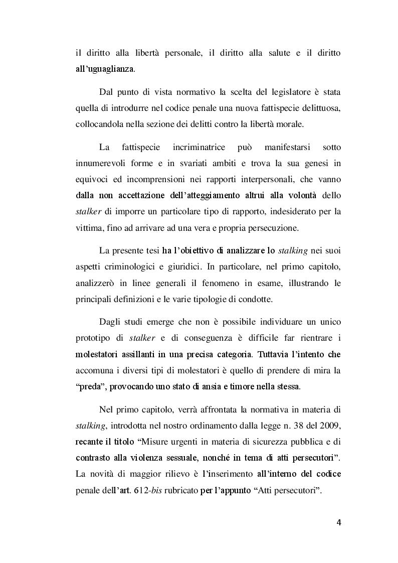 Anteprima della tesi: Il delitto di stalking, Pagina 3