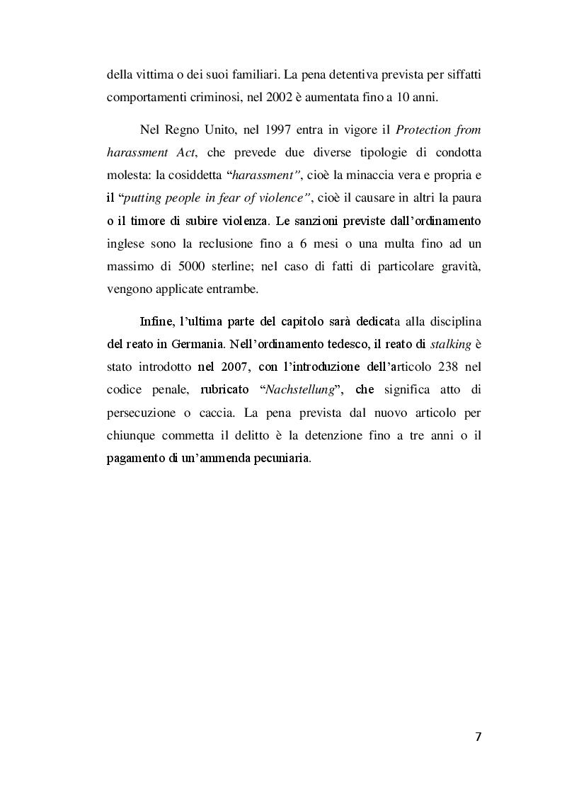 Anteprima della tesi: Il delitto di stalking, Pagina 6