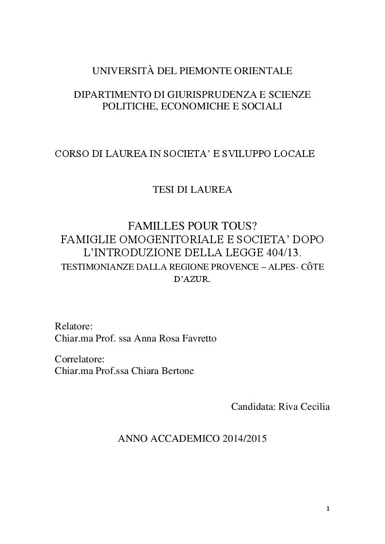 Anteprima della tesi: Familles pour tous? Famiglie omogenitoriali e società dopo l'introduzione della 404/13: testimonianze dalla regione Provence Alpes - Cote d'Azur, Pagina 1