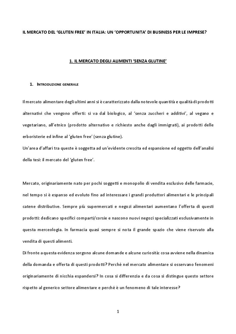 Anteprima della tesi: Il mercato del gluten free in Italia: un'opportunità di business per le imprese?, Pagina 2