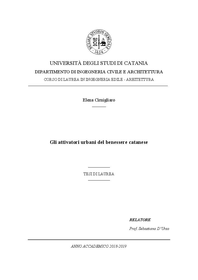 Anteprima della tesi: Gli attivatori urbani del benessere catanese, Pagina 1