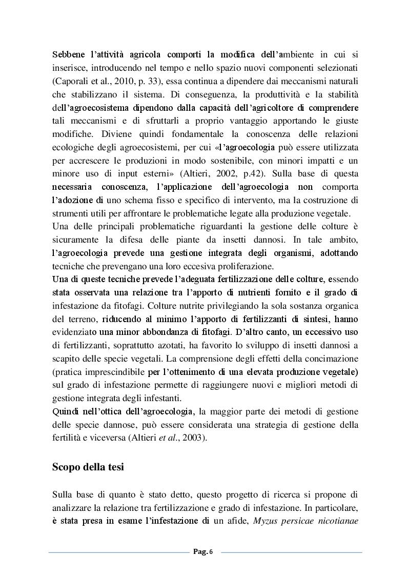 Anteprima della tesi: Analisi degli effetti della fertilizzazione azotata sulle infestazioni di Myzus persicae nicotiane (Blackman) su tabacco (Nicotiana tabacum L.), Pagina 3