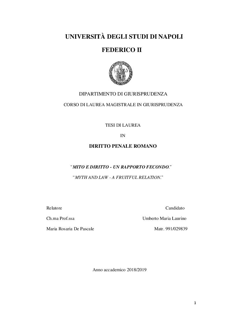 Anteprima della tesi: Mito e diritto: un rapporto fecondo, Pagina 1