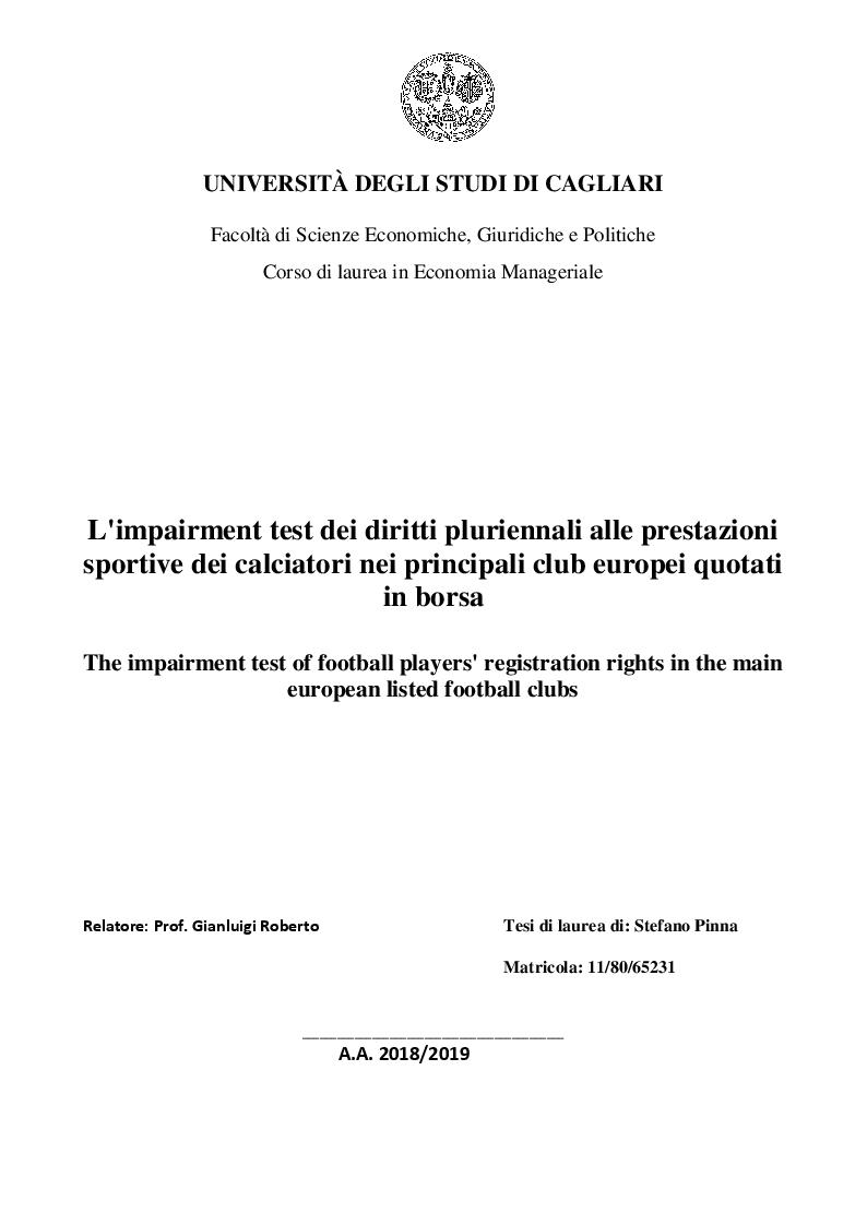 Anteprima della tesi: L'impairment test dei diritti pluriennali alle prestazioni sportive dei calciatori nei principali club europei quotati in borsa, Pagina 1