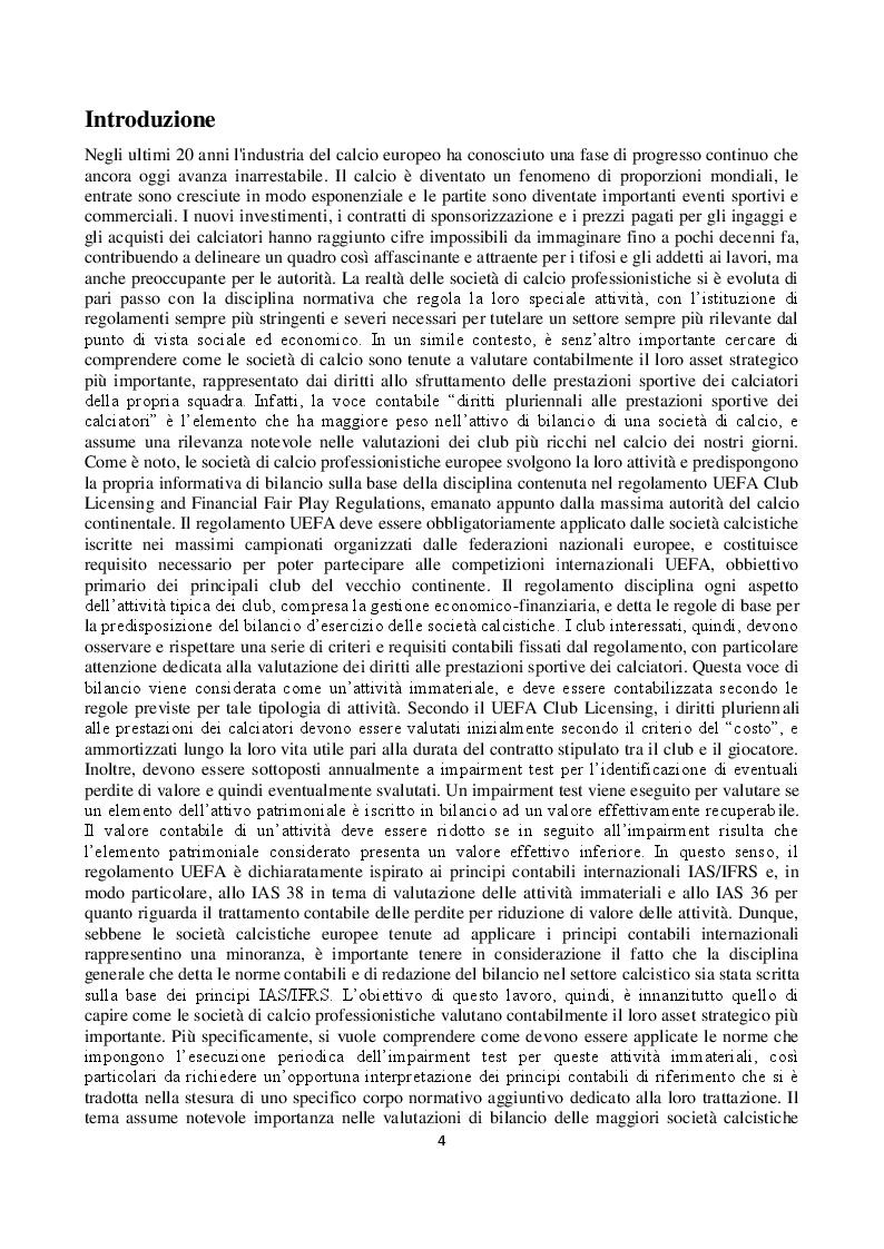 Anteprima della tesi: L'impairment test dei diritti pluriennali alle prestazioni sportive dei calciatori nei principali club europei quotati in borsa, Pagina 2