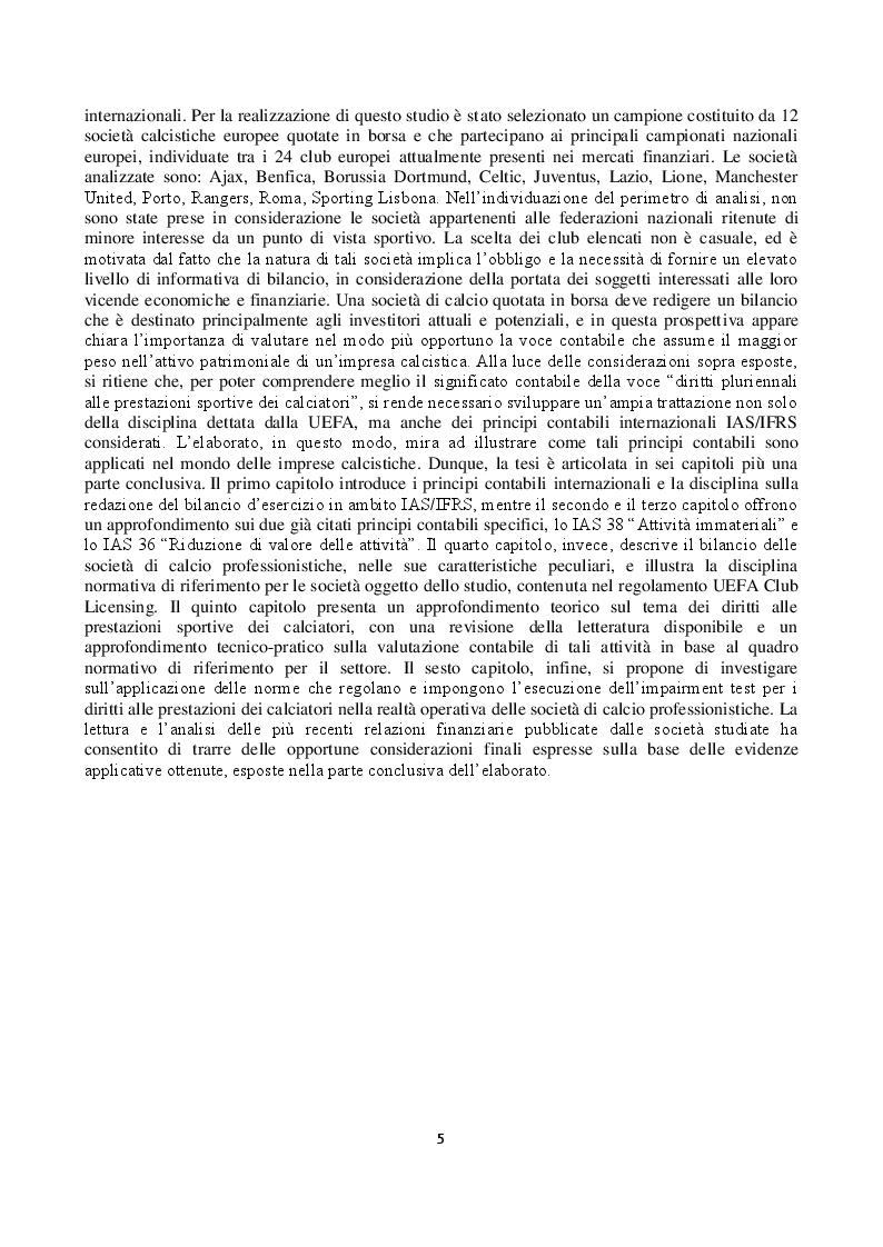 Anteprima della tesi: L'impairment test dei diritti pluriennali alle prestazioni sportive dei calciatori nei principali club europei quotati in borsa, Pagina 3