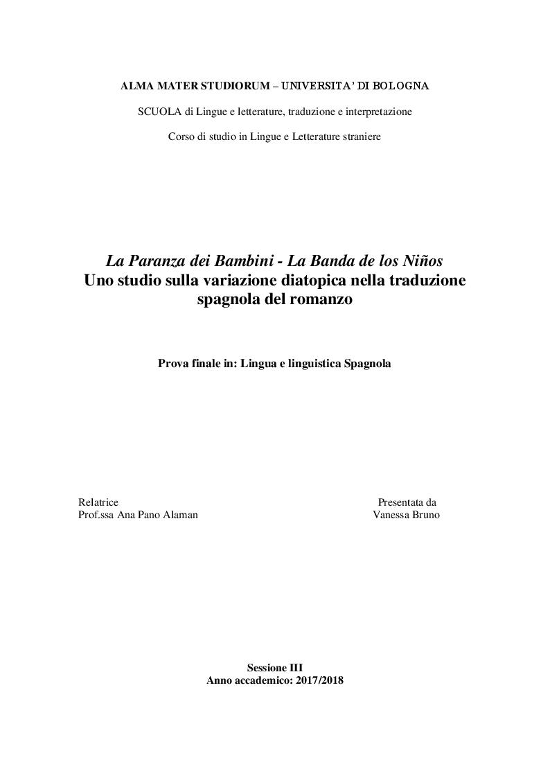 Anteprima della tesi: La Paranza dei Bambini - La Banda de los Niños, Pagina 1