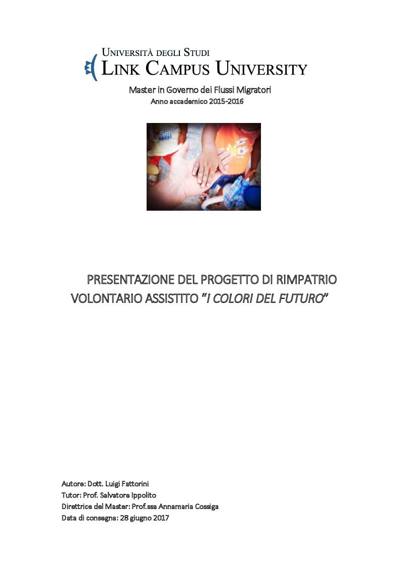 """Anteprima della tesi: Presentazione del Progetto di Rimpatrio Volontario Assistito """"I Colori del Futuro"""", Pagina 1"""
