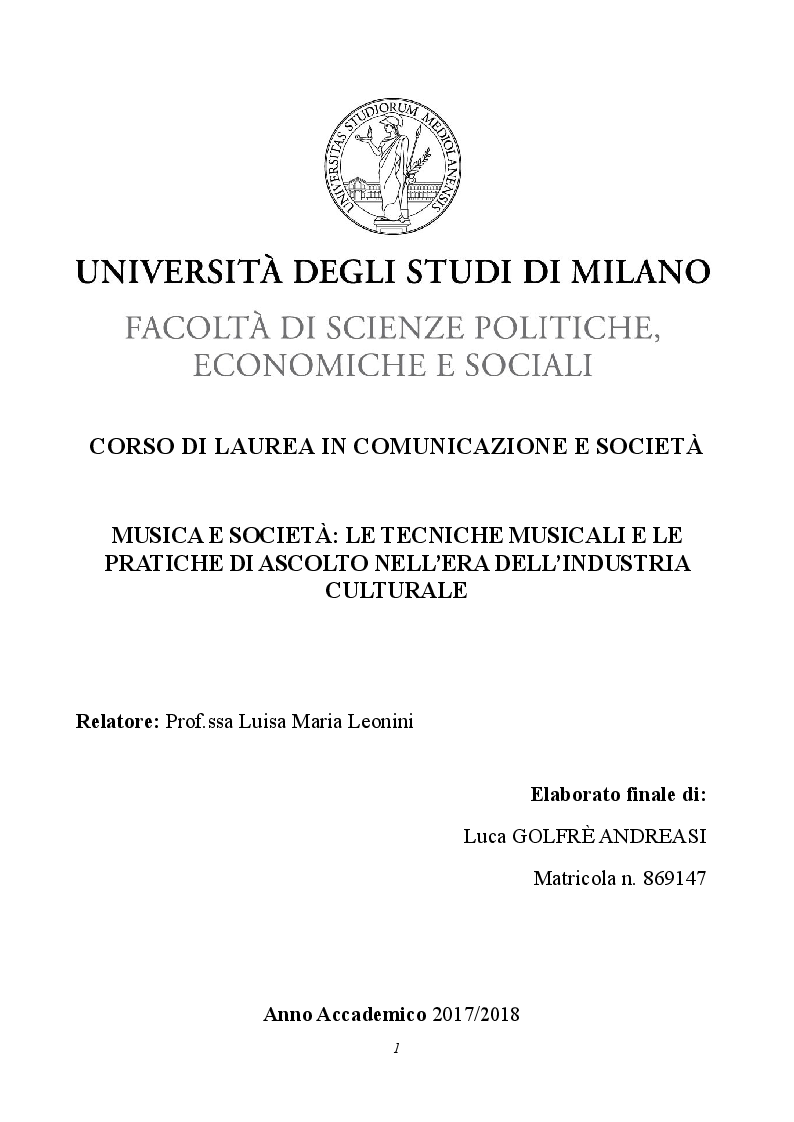 Anteprima della tesi: Musica e società: le tecniche musicali e le pratiche di ascolto nell'era dell'industria culturale, Pagina 1