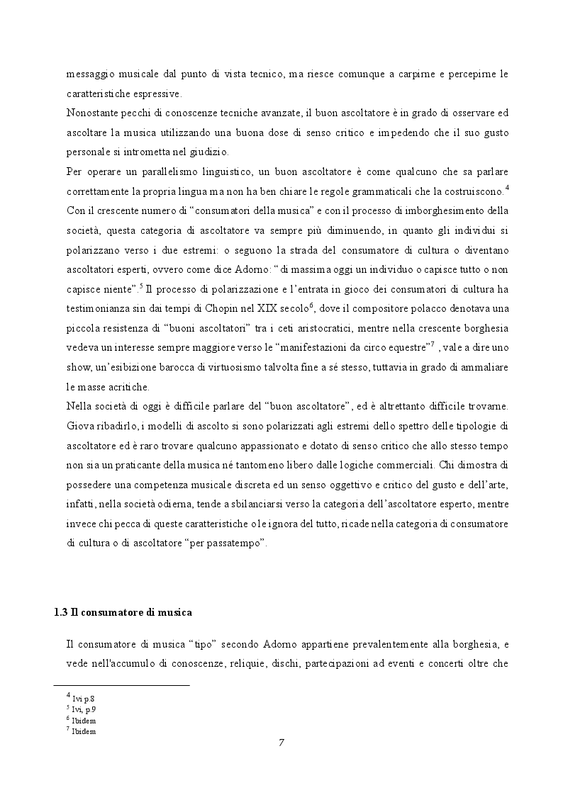 Anteprima della tesi: Musica e società: le tecniche musicali e le pratiche di ascolto nell'era dell'industria culturale, Pagina 5