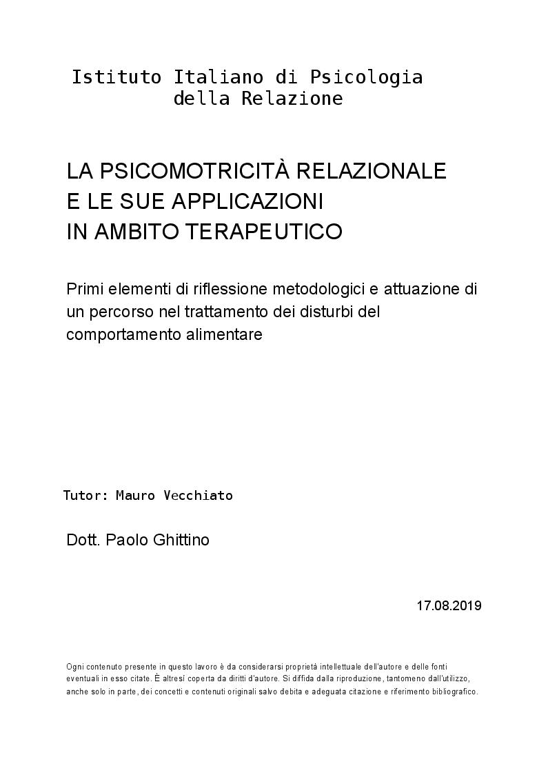 Anteprima della tesi: La psicomotricità relazionale e le sue applicazioni in ambito terapeutico, Pagina 1