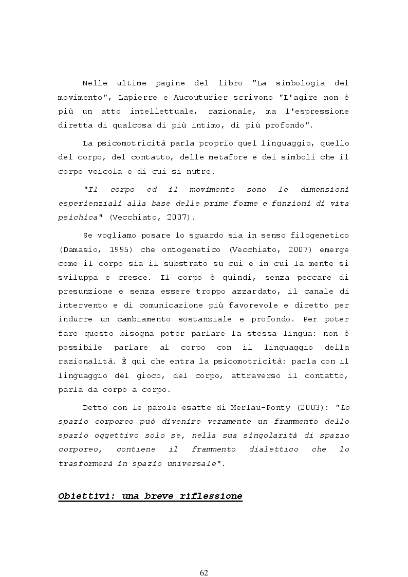 Anteprima della tesi: La psicomotricità relazionale e le sue applicazioni in ambito terapeutico, Pagina 4