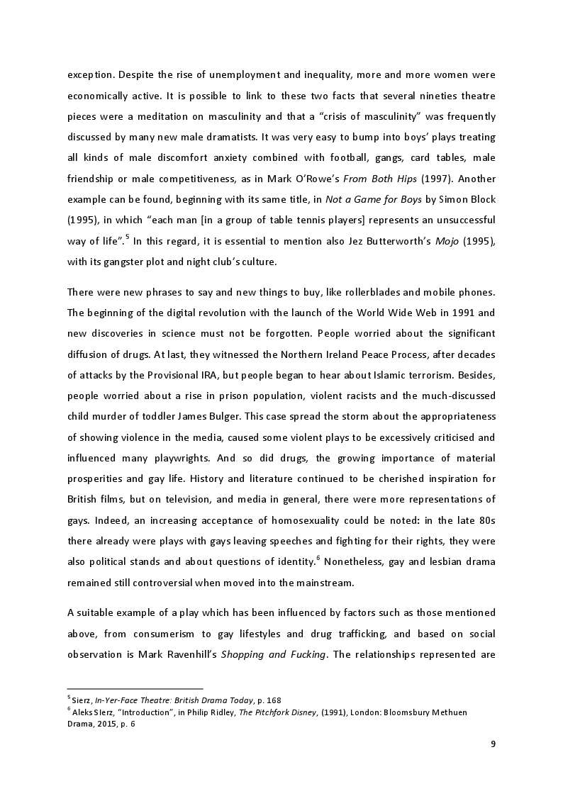 Anteprima della tesi: ''Only love can save me and love has destroyed me'': Interpersonal and self-inflicted violence in Sarah Kane's theatre, Pagina 5