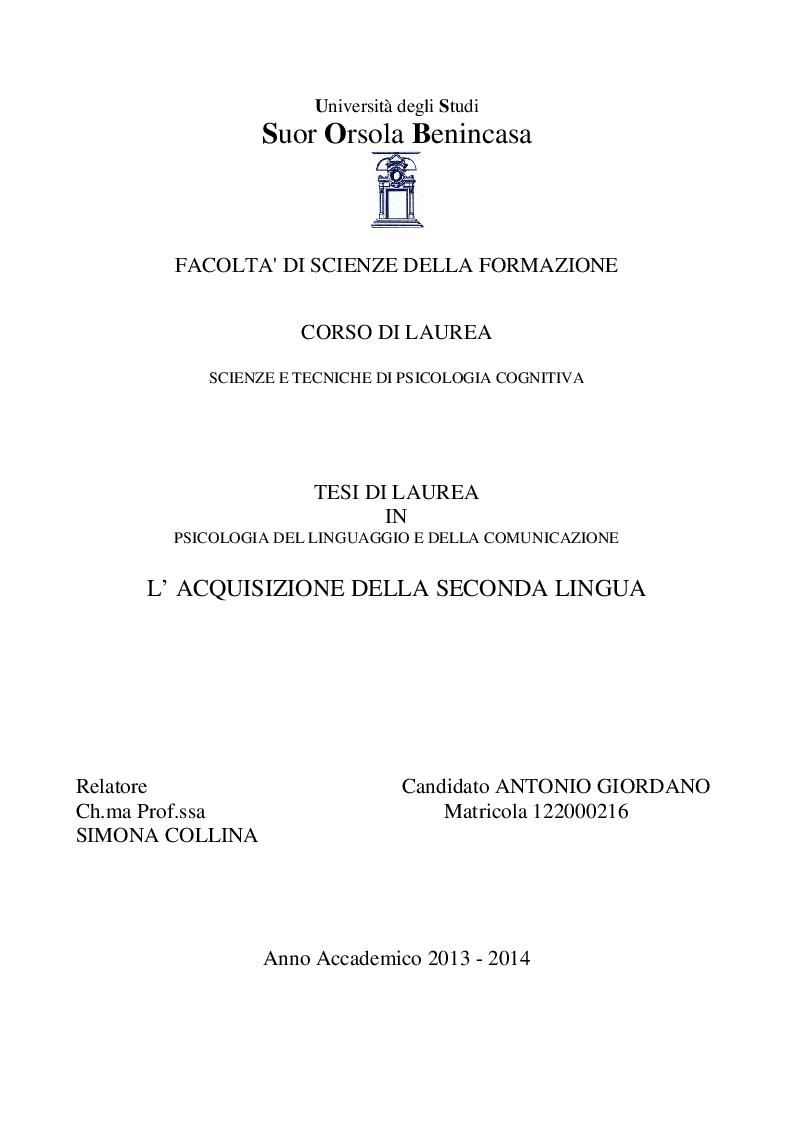 Anteprima della tesi: L'acquisizione della seconda lingua, Pagina 1