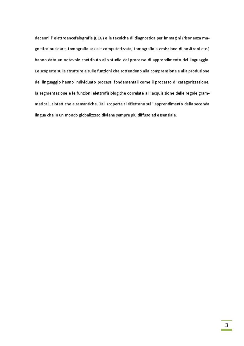 Anteprima della tesi: L'acquisizione della seconda lingua, Pagina 3