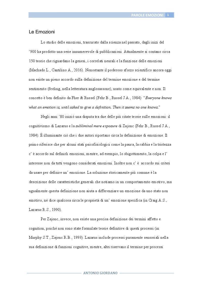 Anteprima della tesi: Le parole che esprimono emozioni, Pagina 2