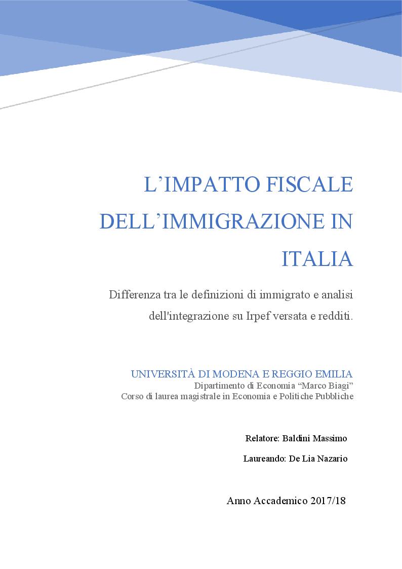 Anteprima della tesi: L'impatto fiscale dell'immigrazione in Italia. Differenza tra le definizioni di immigrato e analisi dell'integrazione su IRPEF versata e redditi, Pagina 1