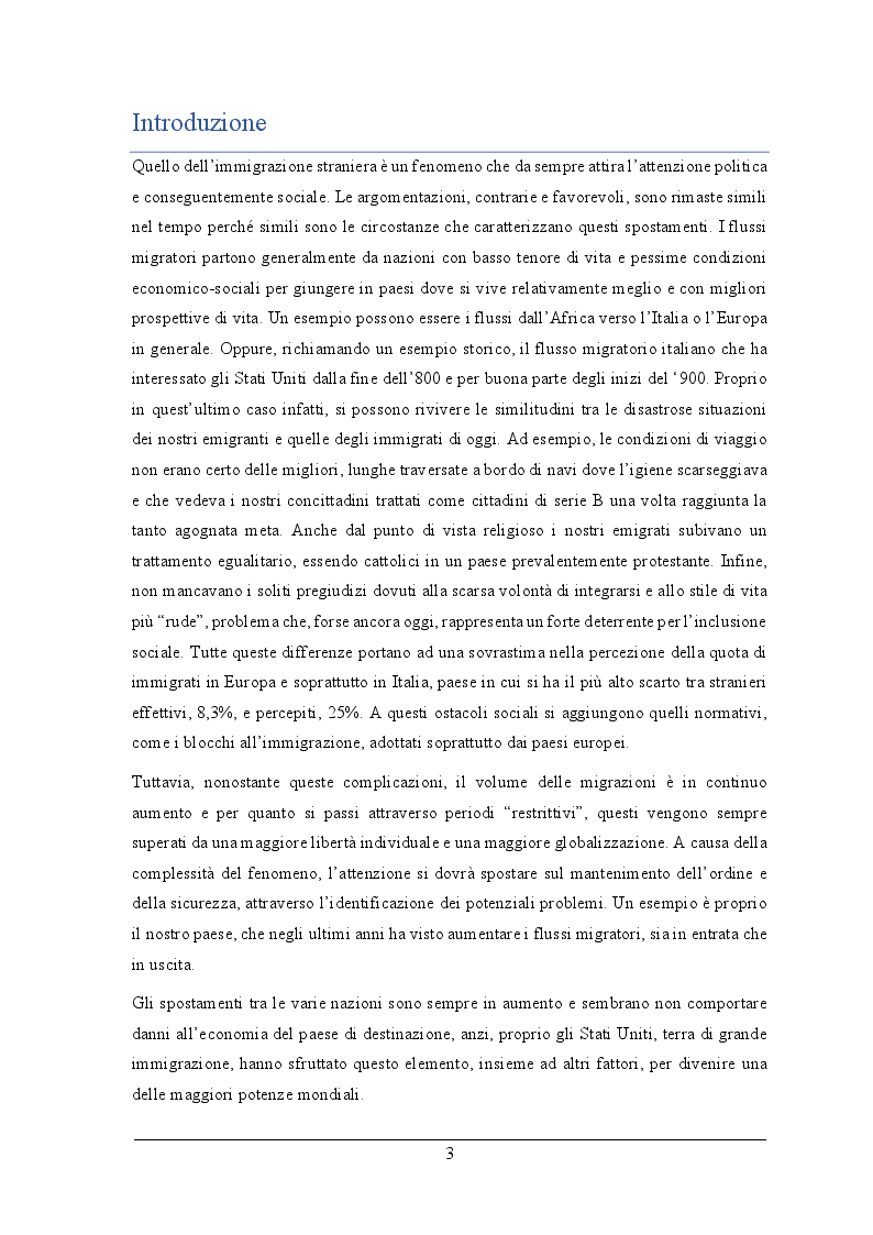 Anteprima della tesi: L'impatto fiscale dell'immigrazione in Italia. Differenza tra le definizioni di immigrato e analisi dell'integrazione su IRPEF versata e redditi, Pagina 2