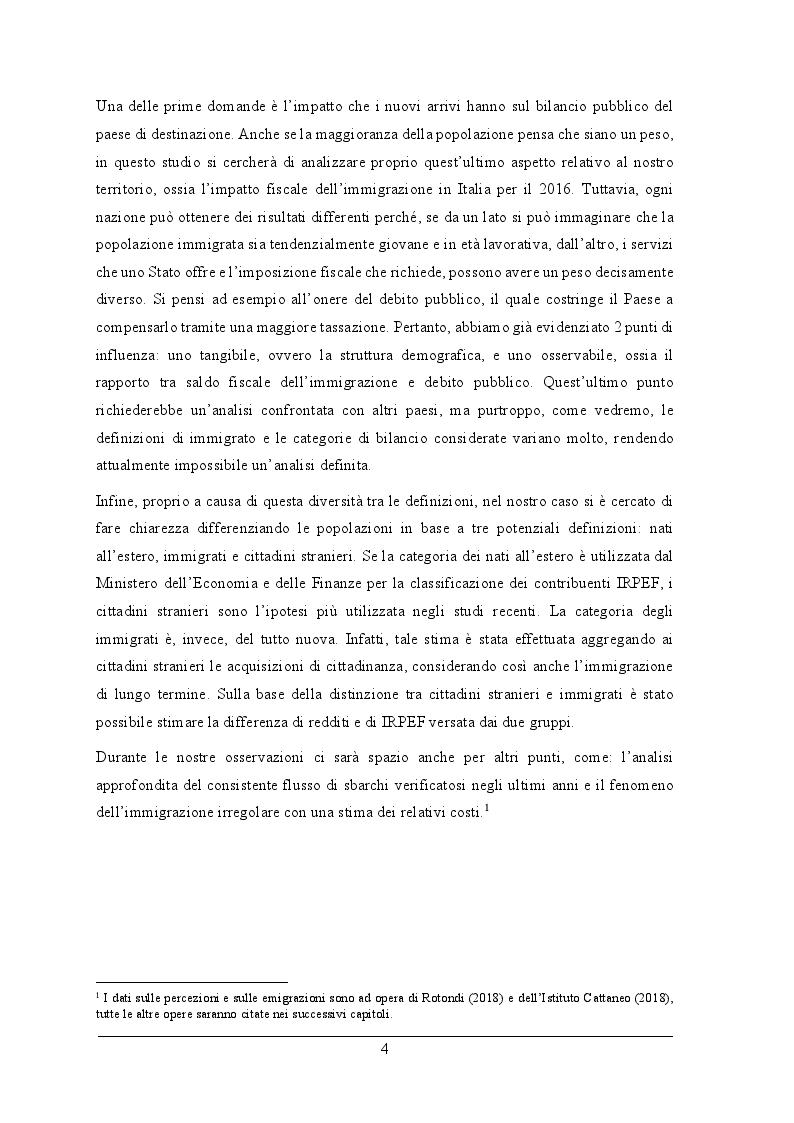 Anteprima della tesi: L'impatto fiscale dell'immigrazione in Italia. Differenza tra le definizioni di immigrato e analisi dell'integrazione su IRPEF versata e redditi, Pagina 3