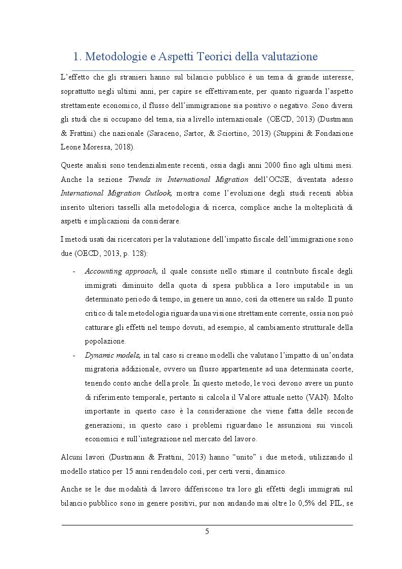 Anteprima della tesi: L'impatto fiscale dell'immigrazione in Italia. Differenza tra le definizioni di immigrato e analisi dell'integrazione su IRPEF versata e redditi, Pagina 4