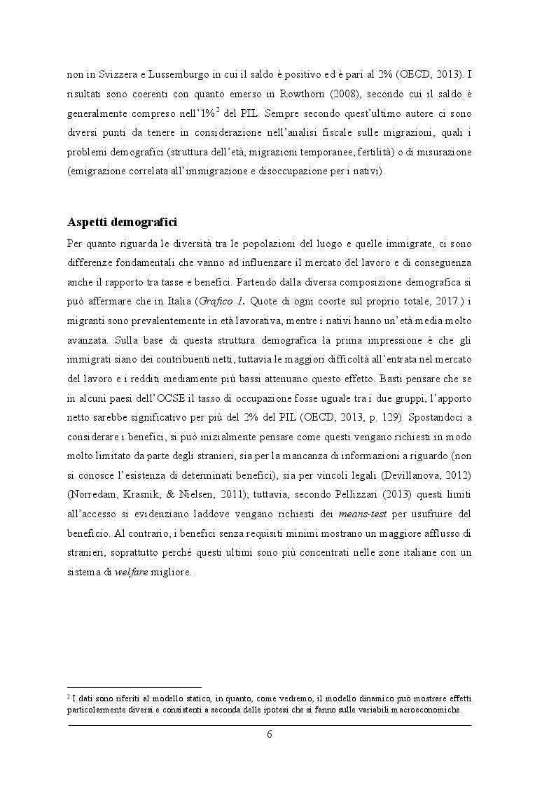 Anteprima della tesi: L'impatto fiscale dell'immigrazione in Italia. Differenza tra le definizioni di immigrato e analisi dell'integrazione su IRPEF versata e redditi, Pagina 5