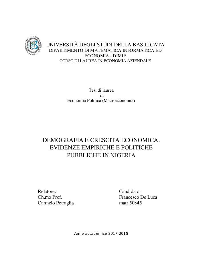 Anteprima della tesi: Demografia e crescita economica. Evidenze empiriche e politiche pubbliche in Nigeria, Pagina 1