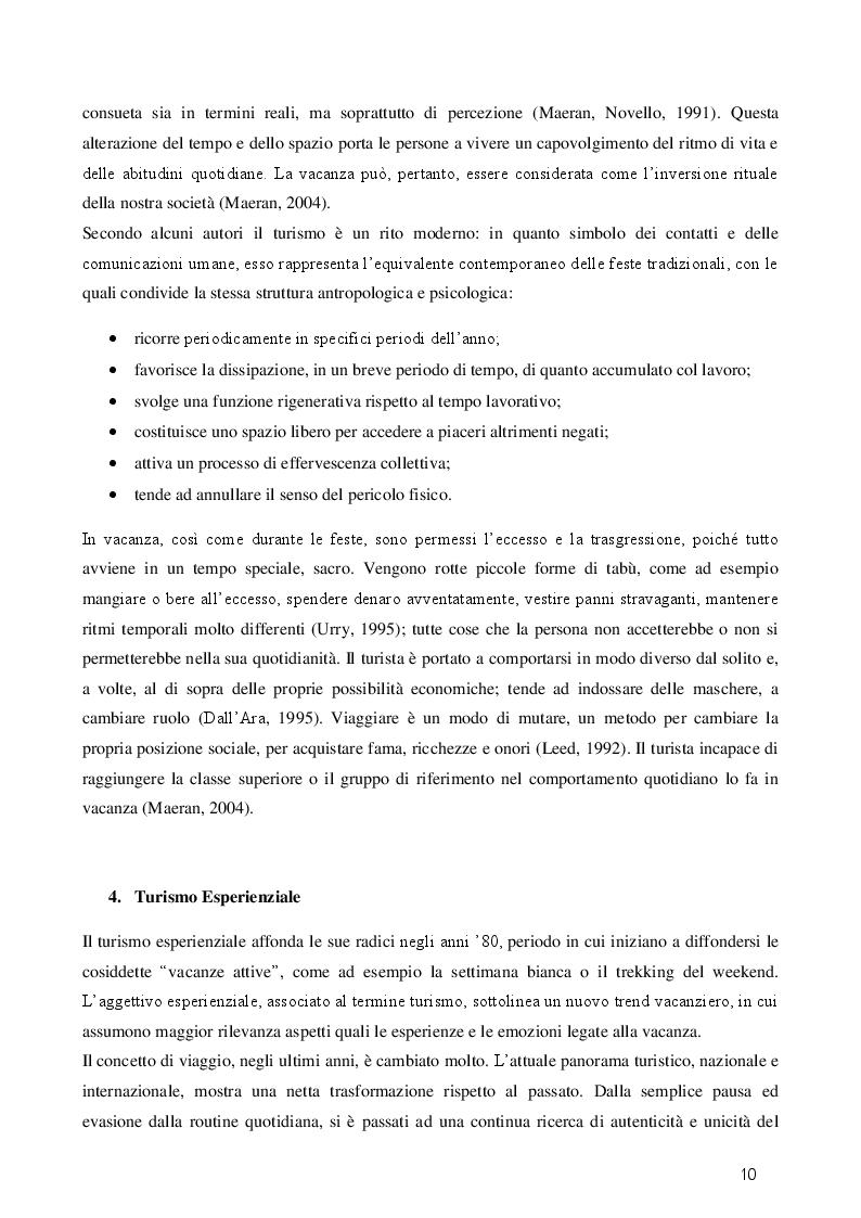Estratto dalla tesi: Turismo esperienziale e pratica sportiva: una ricerca sul campo
