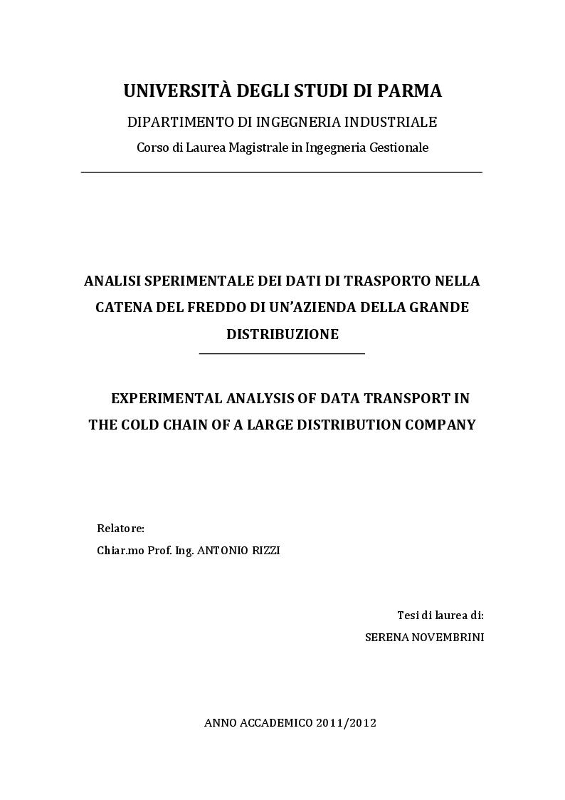 Anteprima della tesi: Analisi sperimentale dei dati di trasporto nella catena del freddo di un'azienda della grande distribuzione, Pagina 1
