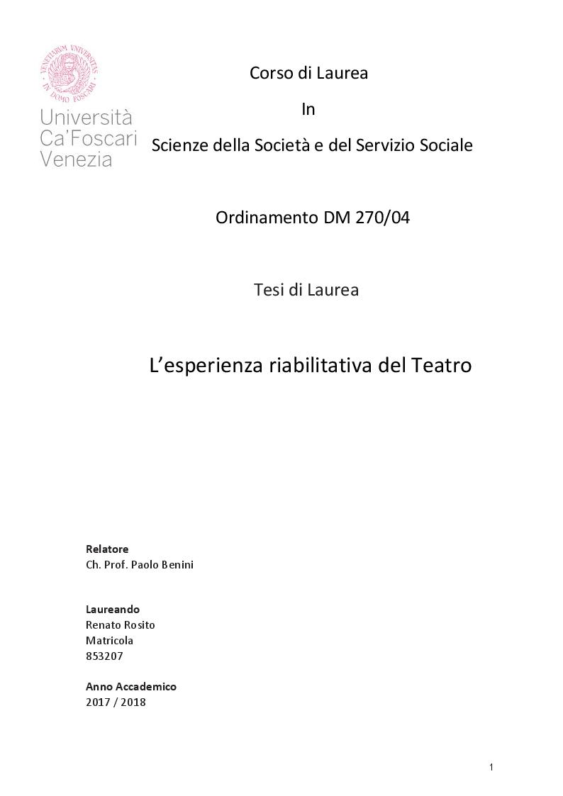 Anteprima della tesi: L'Esperienza Riabilitativa del Teatro, Pagina 1