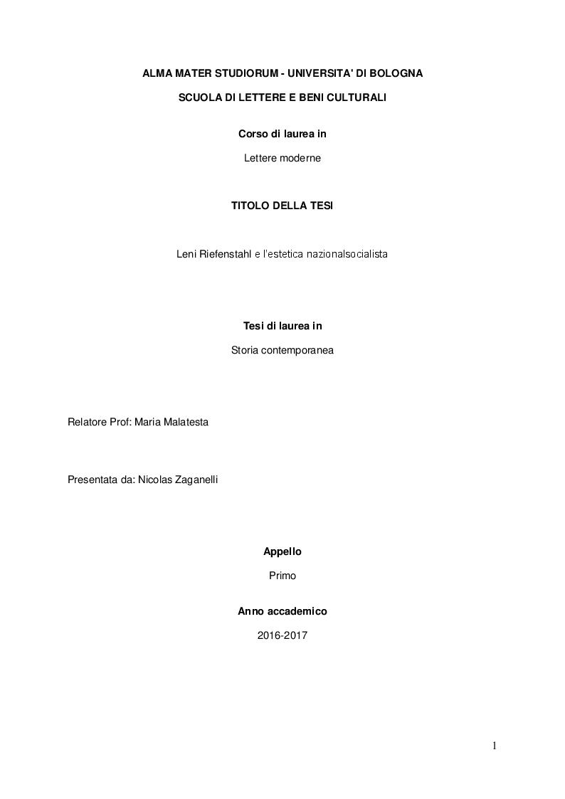 Anteprima della tesi: Leni Riefenstahl e l'estetica nazionalsocialista, Pagina 1