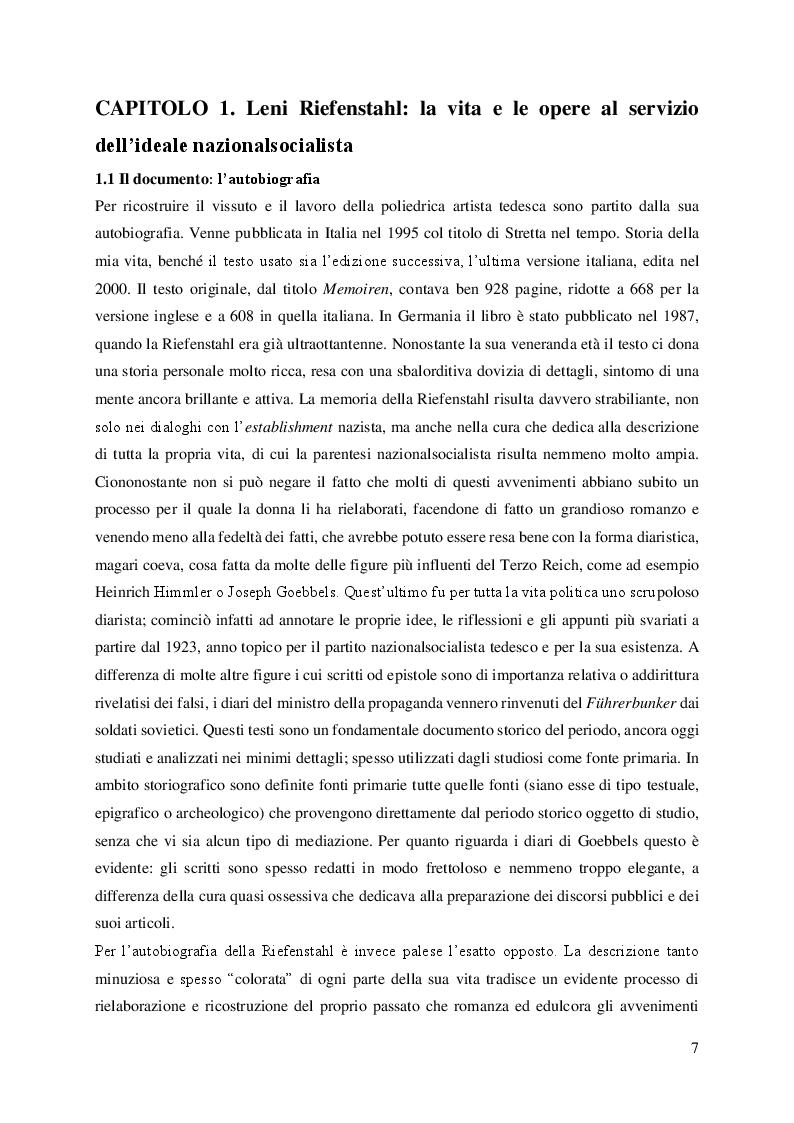 Anteprima della tesi: Leni Riefenstahl e l'estetica nazionalsocialista, Pagina 6