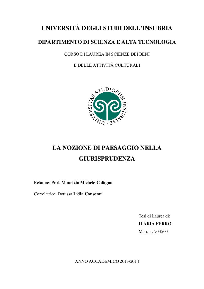 Anteprima della tesi: La nozione di paesaggio nella giurisprudenza, Pagina 1