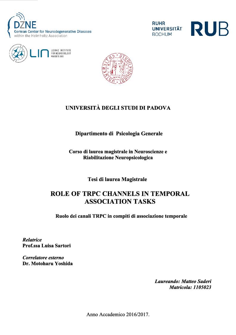 Anteprima della tesi: Role of TRPC channels in temporal association tasks, Pagina 1
