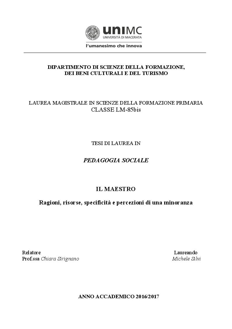 Anteprima della tesi: Il maestro. Ragioni, risorse, specificità e percezioni di una minoranza, Pagina 1
