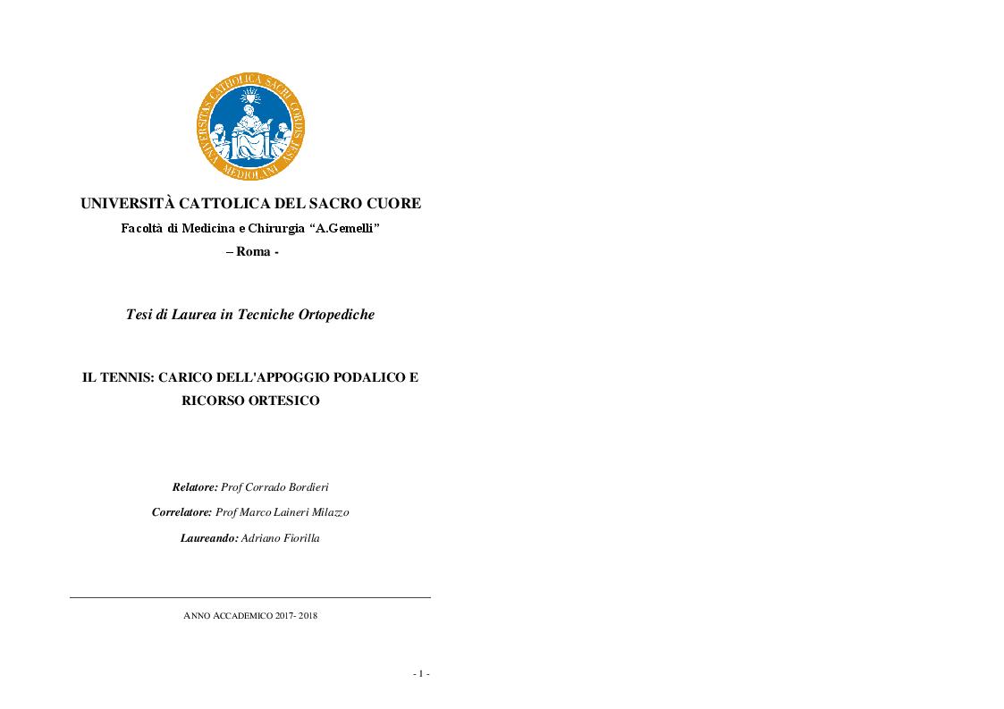 Anteprima della tesi: Il Tennis: carico dell'appoggio podalico e ricorso ortesico, Pagina 1