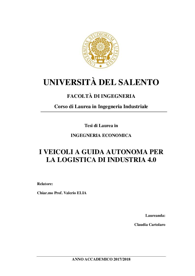 Anteprima della tesi: I veicoli a guida autonoma per la logistica di Industria 4.0, Pagina 1
