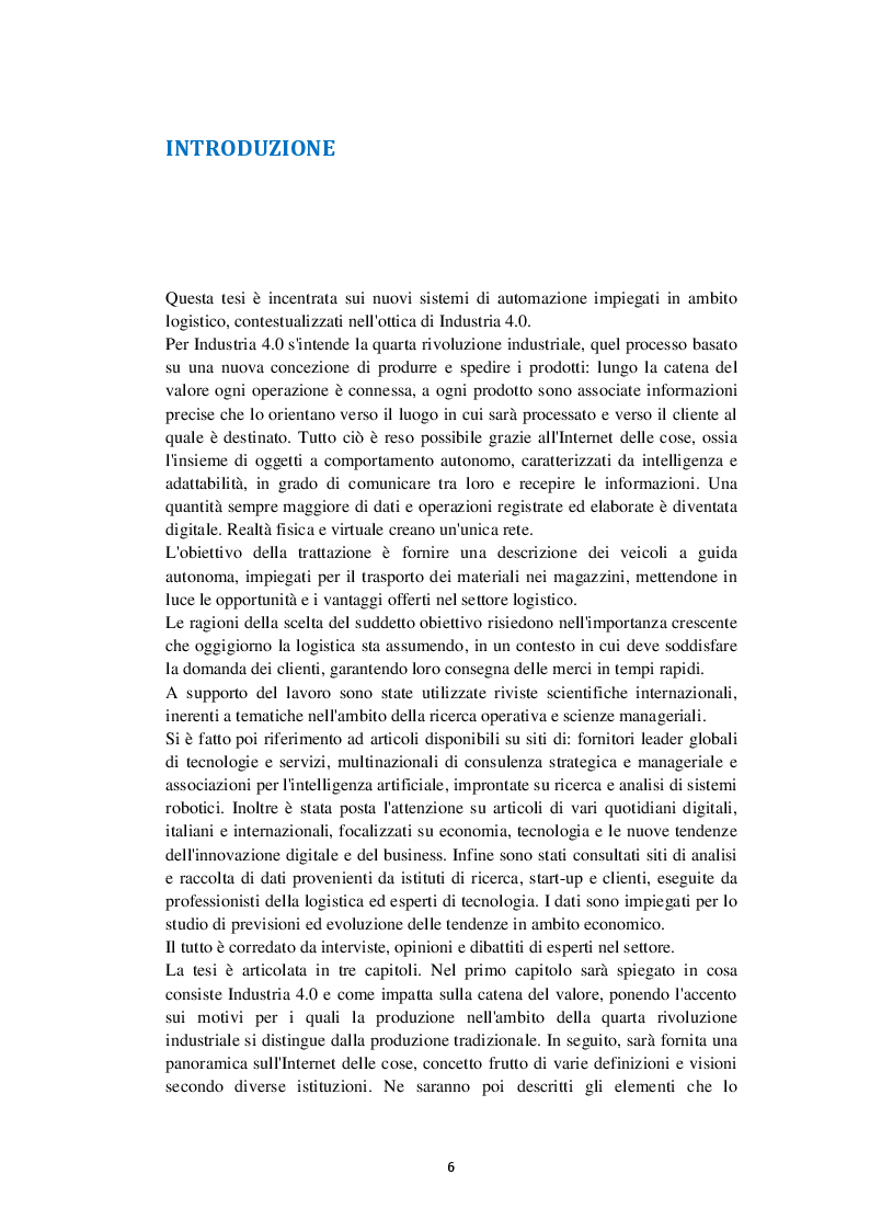 Anteprima della tesi: I veicoli a guida autonoma per la logistica di Industria 4.0, Pagina 2