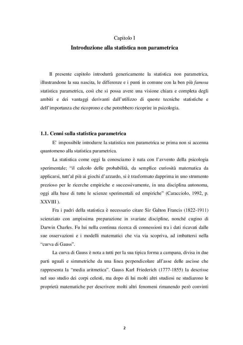 Anteprima della tesi: Rilevanza della statistica non parametrica in psicologia, Pagina 2