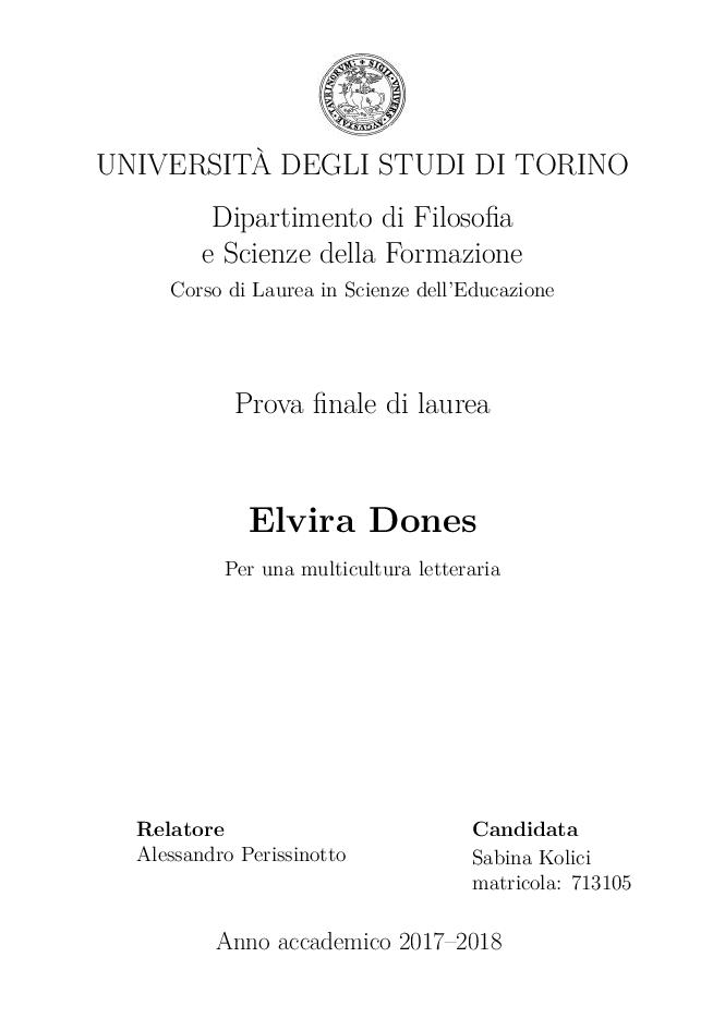 Anteprima della tesi: Elvira Dones: per una multicultura letteraria, Pagina 1