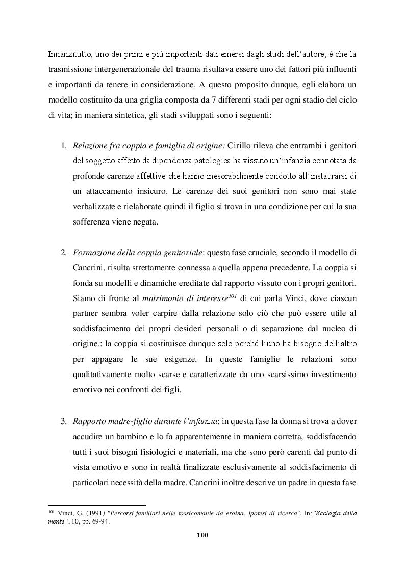 Anteprima della tesi: Genitorialità in situazioni di rischio: genesi, caratteristiche delle dipendenze patologiche e il ruolo nella compromissione delle funzioni genitoriali, Pagina 11