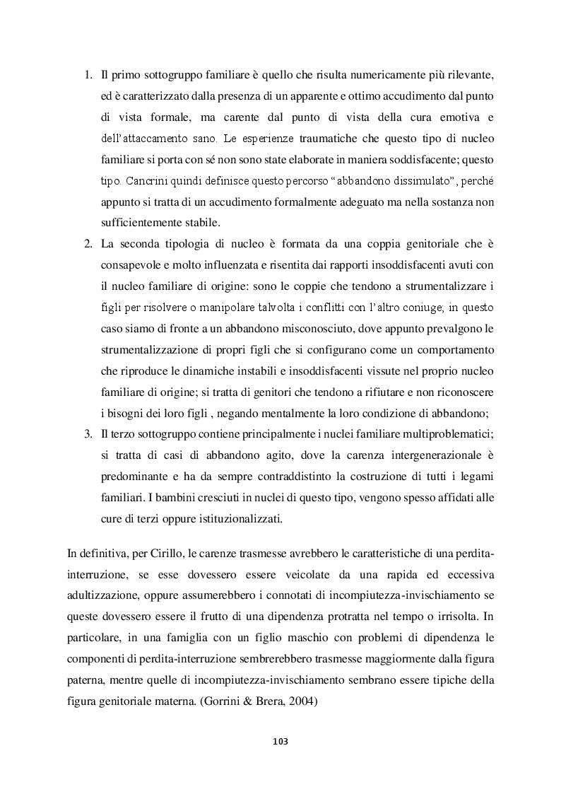 Anteprima della tesi: Genitorialità in situazioni di rischio: genesi, caratteristiche delle dipendenze patologiche e il ruolo nella compromissione delle funzioni genitoriali, Pagina 14