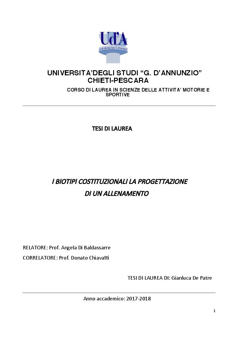 Anteprima della tesi: I biotipi costituzionali, la progettazione di un allenamento, Pagina 1