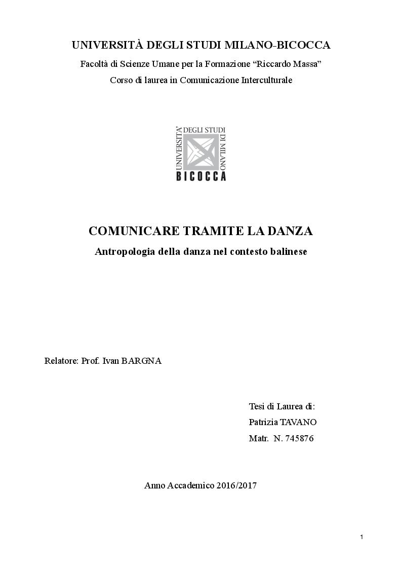 Anteprima della tesi: Comunicare tramite la danza. Antropologia della danza nel contesto balinese, Pagina 1