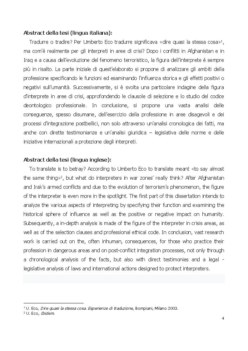 Anteprima della tesi: Traduttore o traditore? Vincoli e rischi di un interprete in operazioni, Pagina 2