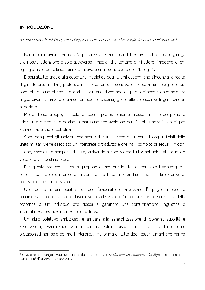 Anteprima della tesi: Traduttore o traditore? Vincoli e rischi di un interprete in operazioni, Pagina 3
