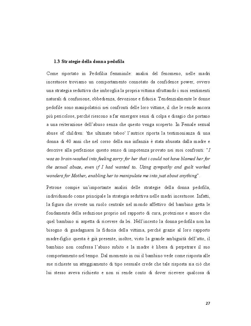 Anteprima della tesi: Pedofilia femminile: la trasmissione intergenerazionale tra madre e figlia, Pagina 2